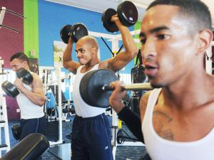 Prisoners at Malmesbury Correctional Centre enjoying the state-of-the-art exercise facilities built for them by two former inmates. (Photo: Cape Times)