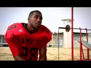 An inmate-athlete at Angola  (Photo from the documentary Angola Prison Football)