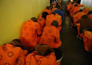 This file photo Pretoria Central Prison inmates during a search by prison warders. (Photo: Sizwe Ndingane for IOL )