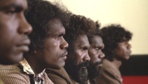 Aboriginal men on trial in a still from Peter Weir's film The Last Wave (Photo: www.creativespirits.info)