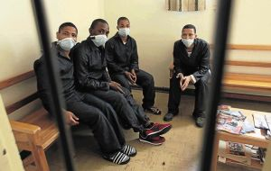Awaiting trial and awaiting a TB test: remand detainees in Pollsmoor prison. (Photo: Shelley Christians for Times Live)