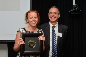 Ruth Hopkins, winner of the print category, and Pierre de Vos, Claude Leon Foundation Chair in Constitutional Governance at the University of Cape Town