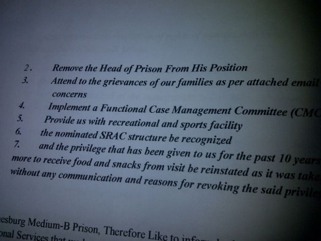 Petition handed to management by Sun City Medium B inmates.